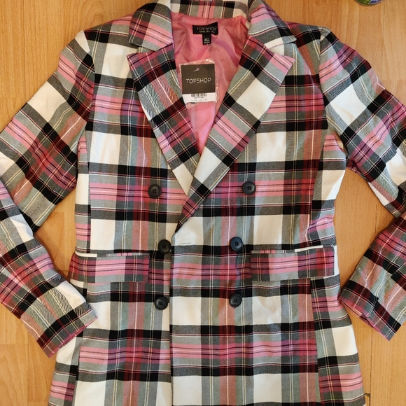 Pink Plaid Double Breasted Blazer